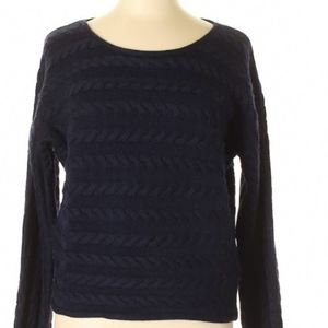 Tahari Navy Blue Wool Chunky Cable Knit Sweater M